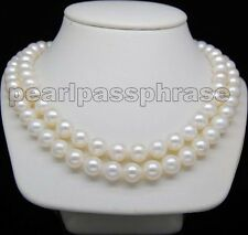"""14K Yellow Gold Clasp Double Strand 8-9mm AAA+ White Pearl Necklaces 17""""&18"""""""