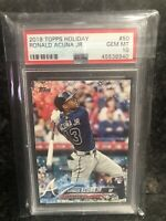 2018 Topps Holiday Ronald Acuna Jr. RC Card #50 #HMW50 PSA 10 Gem Mint Rookie