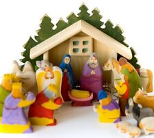 Nativity Set , Christmas wooden set of 18 hand painted carved figurines