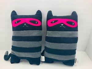 "2 x Pillowfort Cat Capers Pillow Plush Black Striped Bandit Masked Kitty 15"""