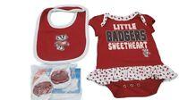 NCAA University of Wisconsin Badgers Baby Infant Girls 3 Piece Creeper Set New