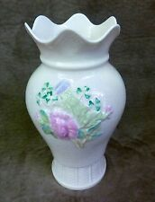 BELLEEK VASE w/ ROSE, SHAMROCKS, THISTLE, SCALLOPED EDGE, KILLARNEY PATTERN
