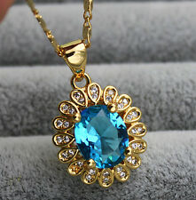 18K Yellow Gold Filled - 8*10MM Oval Blue Topaz Zircon Gemstone Pendant Necklace