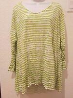 "NEW Pleats Collection Stripe Crinckle Women Size XL 1X 2X $59 3/4"" Sleeve V Neck"