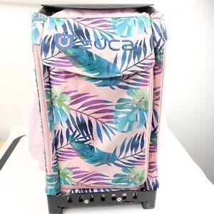 Zuca Pink with Blue Flora Design Bag Black Frame Light Up Wheels Leaves Rolling