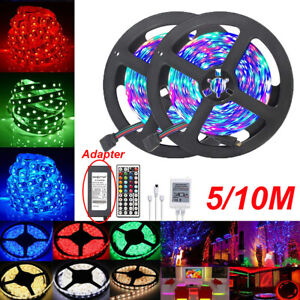 5M 10M 3528 RGB LED Strip Light Multi Colored Activated  44 Key Remote Strips
