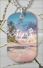 ALOHA FROM HAWAII DOG TAG PENDANT NECKLACE FREE CHAIN -hew2Z