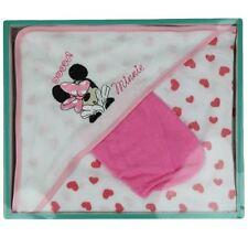 DISNEY coffret cadeau lot cape de bain + gant MINNIE blanc et rose coeur neuf