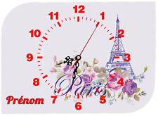 horloge pendule murale paris personnalisé prénom au choix réf 60