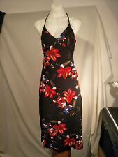 Bardot Ladies Vintage Dress in Black with a Vibrant Floral Print Size S