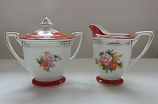Noritake Morimura Porcelain Sugar Bowl and Creamer Orange & White