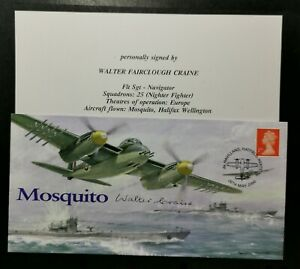 BATTLE OF BRITAIN - SQUADRON MOSQUITO COVER SIGNED BY WALTER CRAINE.