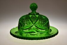 c. 1899 PINEAPPLE & FAN by Heisey GREEN Butter Dish w/Cover