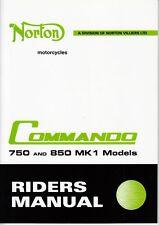 1972-73 Norton Commando 750, 850 Mark 1, OEM, Owners Riders Manual, Brown Wrap