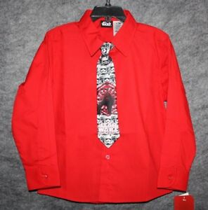 NWT Toddler Boys Star Wars Red Stormtroopers Button Down Shirt & Tie Set Size 6