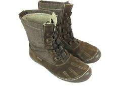 Woolrich Brown Suede and Plaid Waterproof Lace Up Boots Mocassin Women's 10M