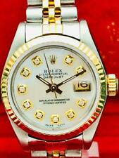 ROLEX Datejust SS & 18k Gold Diamond Mother of Pearl 26mm Ladies 69173 Watch