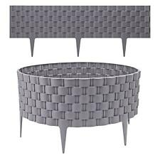 More details for 4 grey rattan effect plastic garden lawn edging plant border simply hammer in