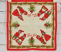 "GOD JUL Merry Christmas - Linen Doiley - Tomte/Nisse Sweden Swedish 11.5"" Square"