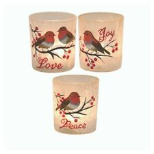 Set of 3 Robin Love Joy Peace Large Tea Light Candle Holder Glass Decoration
