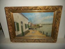 Antique oil painting, ( Coast scene with sailboats, is signed, nice frame! ).