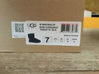 Ugg Boots ladies size 5.5 Uk EU 38, black with corduroy bows  BRAND NEW in box