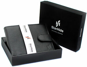 RFID Top Grain Real Leather Wallet With Coin Pocket Pouch by Starhide 1110 Black