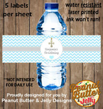 Personalised Blue Christening / Baptism WATER BOTTLE Sticker Labels - 5 Per Page
