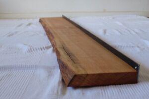 Massivholz Wandregal Eiche Wildeiche 2X 40cm mit Baumrinde Baumkante 2X Wandboard Regal