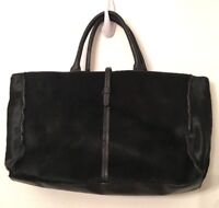 Guia's Black Leather and Pony Hair Small Tote Style Handbag Made in Italy Red