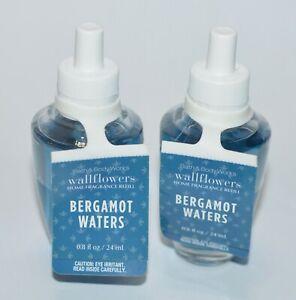LOT OF 2 BATH & BODY WORKS BERGAMOT WATERS WALLFLOWER REFILL BULB PLUG IN BLUE