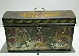 Rare Antique 1830's Hand Painted Country Americana Document Storage Tin