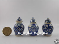 Vintage Miniatures Ceramic Antique Furniture Chinese Dollhouse Vase Jar Pot 3pc