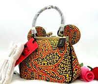AUTH NWT COACH Mickey Mouse x Keith Haring Kisslock Mini Leather Bag Limited
