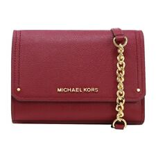 Michael Kors Hayes Small Clutch Crossbody Bag In Leather. In Mulberry