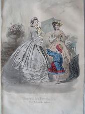 1i36 Gravure de mode 1861 journal des demoiselles