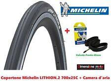 """Copert. MICHELIN LITHION.2 Nero/Grigio 700x25C + Camera x Bici 28"""" Corsa Vintage"""
