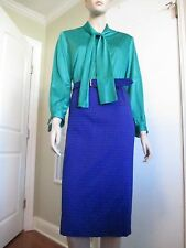Vintage 1970's 80's Shirtwaist Secretary Dress Neck Tie M/L