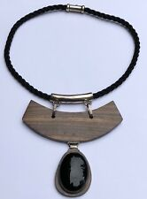 MID CENTURY ABSTRACT MODERNIST ROSEWOOD STERLING SILVER BIB BLACK ONYX NECKLACE