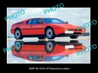 OLD LARGE HISTORIC PHOTO OF 1978 BMW M1 E26 LAUNCH PRESS PHOTO 1