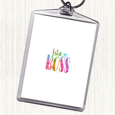 Like A Boss Rainbow Quote Bag Tag Keychain Keyring