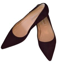 Michael Kors Collection Italy Chocolate Brown Suede Kitten Heel Pointed Pump 8 M