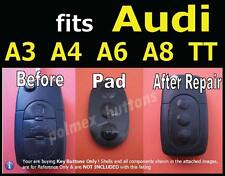 fits Audi A2 A3 A4 A6 A8 remote flip key fob -Replacement 3 key Button Pad