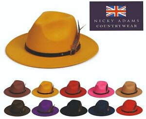 Mens Ladies Hat Fedora Wide Brim Feather Adjustable Band Wool Felt One Size NEW