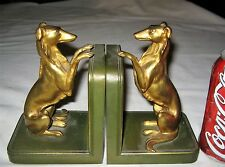ANTIQUE LVA RONSON USA WHIPET GREYHOUND DOG ART STATUE SCULPTURE METAL BOOKENDS