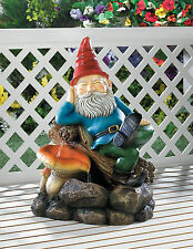 RELAXING GNOME Outdoor Garden Patio Water FOUNTAIN 10017067