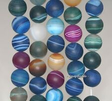 """12MM PARTY MIXED AGATE GEMSTONE RAINBOW STRIPED MATTE ROUND LOOSE BEADS 7.5"""""""