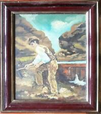 ARTE NAIF- lo zappatore - olio su tavola ENRICO COPETTA CO.EN 1925-1989