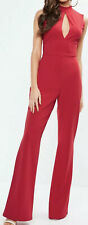 Missguided Size 8 Red Split Front High Neck Jumpsuit.                   a