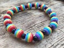 Rainbow Pride LGBTQ Elasticated Resin Multi Coloured Bracelet + Gift Bag